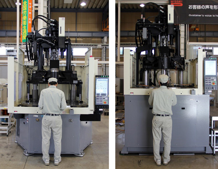 [Height comparison of the new and old machines] New TWX220R Type (Left) and Older 220t Type (Right)